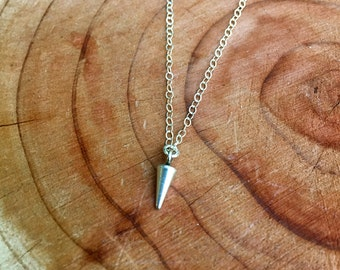 Tiny Spike Necklace, Sterling Silver Dagger Necklace