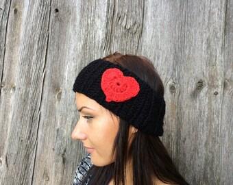 crochet black womens Headband with crochet heart  Wrap Red heart Hat womens ear warmer crochet earwarmer winter headband,valentines day gift