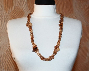 Natural wooden necklace.