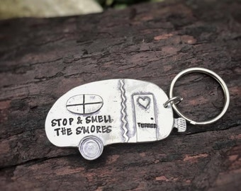 Stop and smell the s'mores - Hand Stamped camping keychain or Christmas ornament