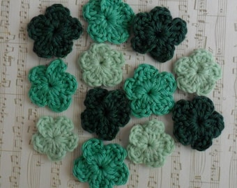 U Pick Colors - Set of 12 Small Crochet Flowers - 1' or 2,5 cm - 89 Colors Available