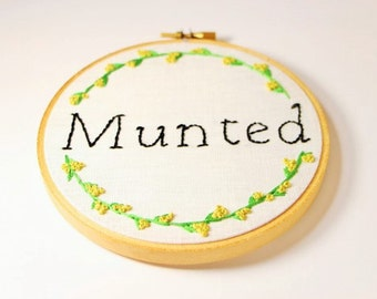 Munted Kiwiana Modern Hand Embroidered Hoop Art/Wall Hanging