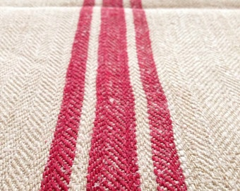 Raspberry Red Stripe Twill Natural Sandstone Vintage Linen Grainsack