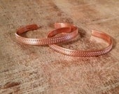 Small Size Patterned or Hammered Thin Copper Cuff Bracelet in Bright Natural Finish for Petite or Child Wrist