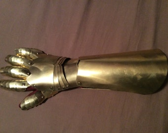 Brass Metal gauntlet armor with vambrace, hand crafted, single gauntlet