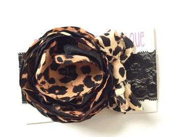 Leopard themed Couture headband, baby headband, newborn headband, photo props, headbands