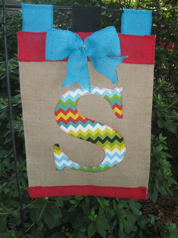 Chevron Initial Garden Flag Monogram Applique Garden Flag