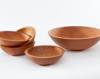 Large Wood Salad Bowl with Matching Single Serving Wood Bowls