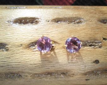 Amethyst and Sterling Vermeil Stud Earrings