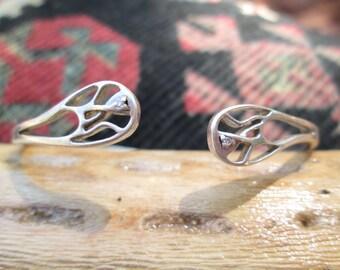 Art Deco Sterling with Tiny Diamonds Cuff Bracelet