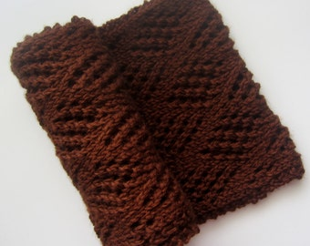 Chocolate Brown Cowl - Dark Brown Hand Knit Mini Circle Scarf - Eco Friendly