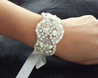 "ON SALE - Pearl and Rhinestone Cuff - ""FELICITY"" - Elegant Bridal Pearl and Rhinestone Cuff, Bridal Bracelet"