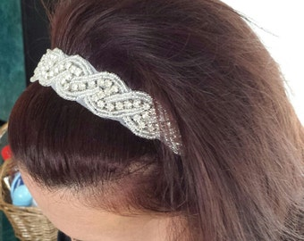 "Rhinestone Hairband - ""ELIZABETH"" - Bridal Hair Accessory, Wedding Headband, Bridal Headband"