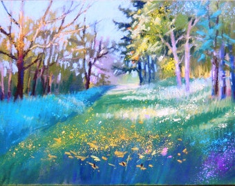 Spring forest,original pastel painting,6 x 8 inches