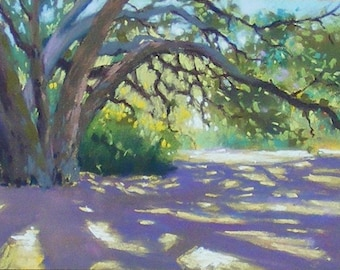 Eaton canyon shadow, original pastel painting, 6 x 8 inches