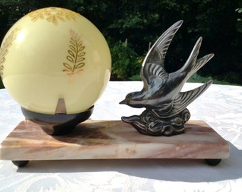 French Art Deco bird Desk lamp -  bird on a marble base -yellow glass ball shade, bedside table lamp.