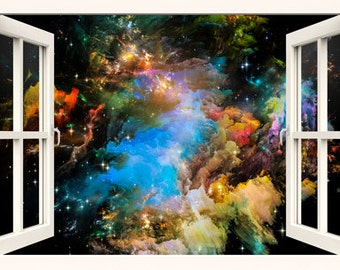 3D window wall decal galaxy for kids, children wall decals, space wall decal,vinyl stickers, 3d wall decal, 3d decal,vinyl decal