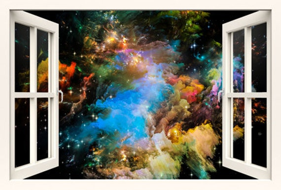 3D window wall decal galaxy for kids, children wall decals, space wall decal ,