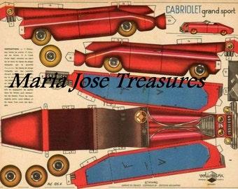 Cabriolet Grand Sport Car Paper Doll Cut Outs - Digital Download