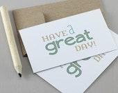 Have a Great Day Mini Cards - Gift Tag, Encouragement Card, Typography Card, Mini Note Card, Thank You, Lunchbox Notes, Teal, Khaki