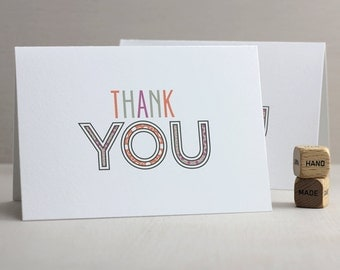 Thank You Notecards - Classic Thank You Notes, Folded Notes, Folded Notecards, Typography, Everyday Notecards, Colorful, Thanks