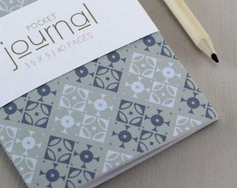 Geometric Diamond Journal - Modern Diamond Pattern, Geometric, Pocket Journal, Handmade Notebook, Notebook, Blue, Grey, Men