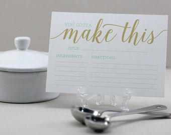 You Gotta Make This Recipe Cards - Typography, Recipe Cards, Funny Recipe Cards, Kitchen, Cooking, Bride, Shower Gift, Gold, Blue