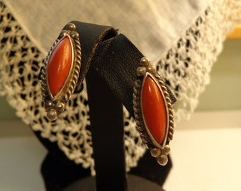 Sterling Silver and Coral Marquise Shaped Screw Back Earrings