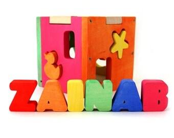 Girl Nursery Decor / Girl Baby Shower Gift / Girl First Birthday / Custom Name / Custom Toy / Custom Wood Toy / Shape Sorting Toy