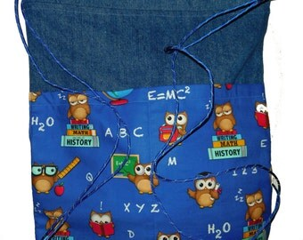 Owl denim backpack, Denim drawstring backpack