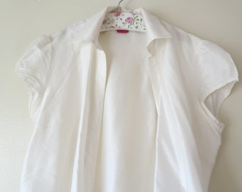 Blue,White sleeveless blouse- Cotton  Woman Top -Size S-M women's sleeveless shirt