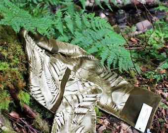 Hand printed embossed velvet scarf botanical fern design