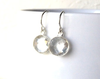 Crystal Clear Silver Earrings, Bridesmaid, Wedding Jewelry, Sterling Wires, Quartz Crystal Clear Drop Earrings
