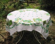 Vintage square tablecloth, turquoise, aqua, green, friut and flowers tablecloth, retro kitchen, shabby farmhouse, chic home decor