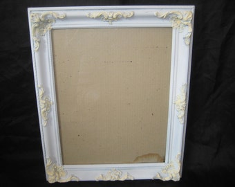 Large decorative frame, Painted white and ivory, distressed, shabby farmhouse, chic decor, 11x 14 inch picture