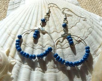 Blue, silver drop hoop earrings