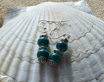 Blue green double bead earrings