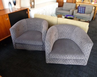 Pair of Swivel Chairs Mid Century Modern Chairs in the Style of Milo Baughman