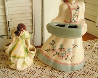 2 Vintage USA Pottery Southern Belle Girl Basket Planters Flowers Cottage Chic Patio Decor