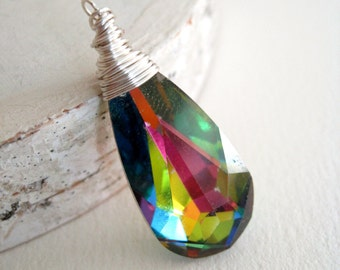 Rainbow Swarovski crystal briolette wire wrapped pendant