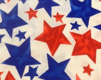 Blue and Red Stars fabric - 2+ yards