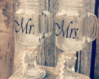 Mr & Mrs {Mason Jar Wine Glasses(2)} Vintage Lace