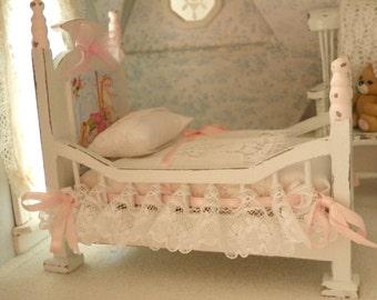 shabby chic miniature  baby cot