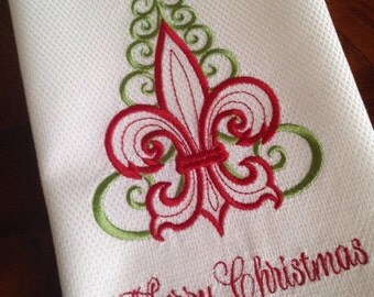 Fleur de lis Christmas Tree Towel