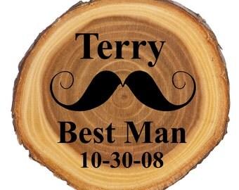 Groomsmen gifts,  Groomsman gift,  mustache groomsmen gift,  best man gift,  rustic wood coaster, personalized coaster, bridal party gift