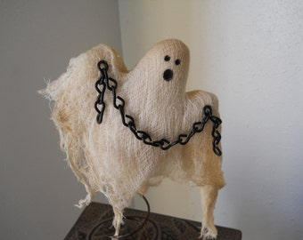 Primitive Ghost Halloween Ghost Halloween Decor Folkart Holiday Decor Spooky Ghost on a Rusty Bed Spring