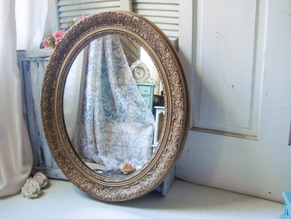 21 Brilliant Bathroom Mirrors White: Gold Vintage Large Ornate Oval Mirror Distressed Gold Shabby