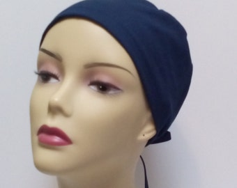 Scrub hats for women. Cancer hats. Solid Navy skullcap. Head wrap for cancer.  Hats for cancer Mens surgical cap. Surgical cap men scrub cap