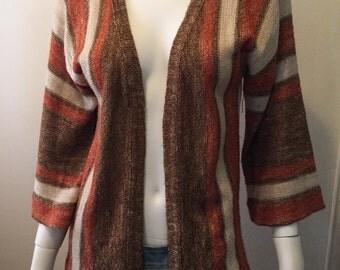Vintage linen hemp blend striped bohemian cardigan hippie chic Love it! Sz M