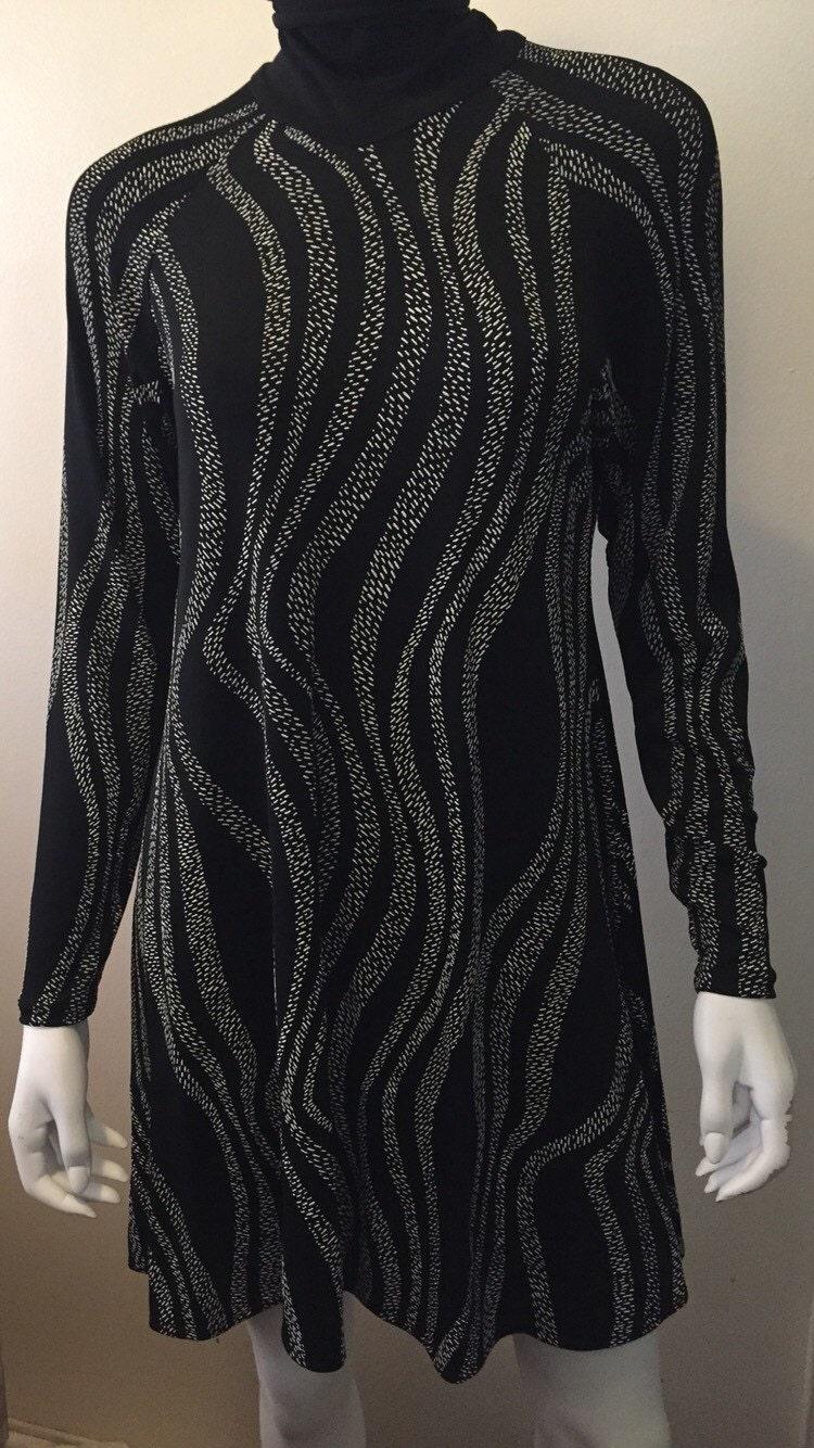 vintage margi kent knit mock neck black and white swing dress